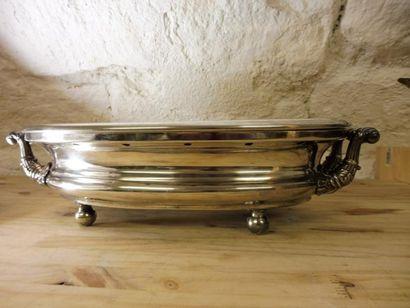 GRAND CHAUFFE PLAT de forme ovale porté par...