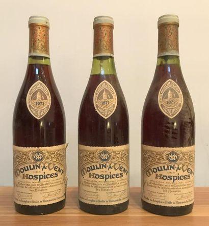 Trois bouteilles MOULIN À VENT DES HOSPICES...