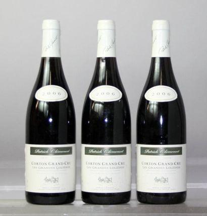 """Trois bouteilles CORTON Grand cru """"Les Grandes..."""