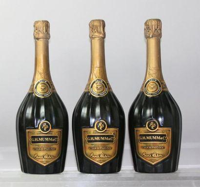 """Trois bouteilles Champagne MUMM Cuvée """"RENÉ..."""