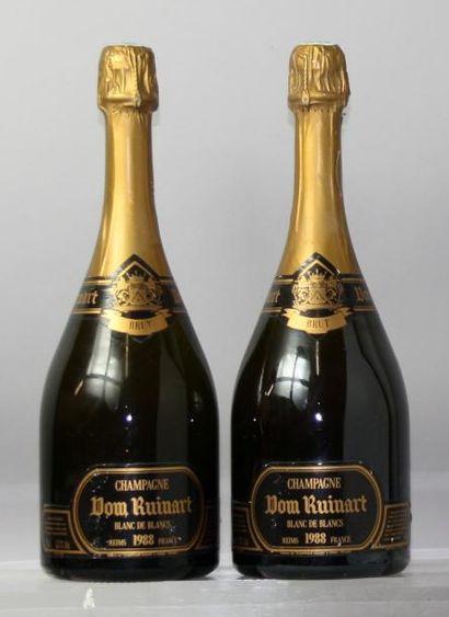 Deux bouteilles Champagne DOM RUINART Blanc...