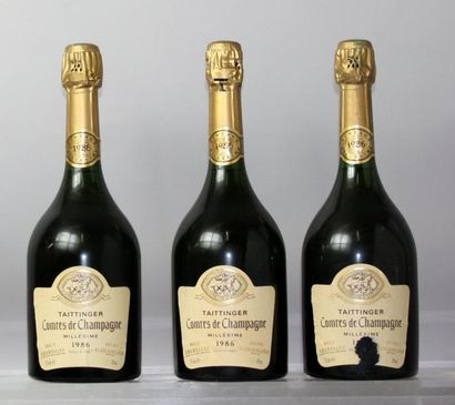 Trois bouteilles Champagne TAITTINGER COMTES...
