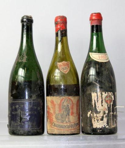 Lot de trois bouteilles de VINS DIVERS ANNEES...