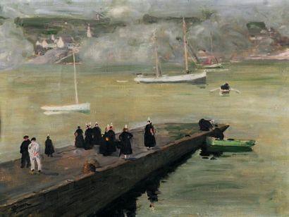 Lucien SIMON (1861-1945) Bretonnes sur la jetée, autour de 1910 Huile sur toile,...
