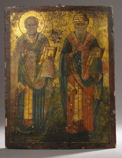 ICÔNE figurant deux saints. Tempera et or...