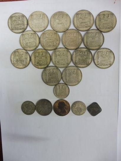 16 PIECES de 20F et 1 PIECE de 10F type TURIN...