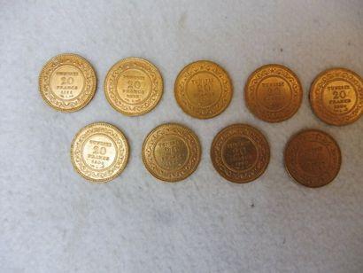 9 PIECES de 20 F TUNISIE or