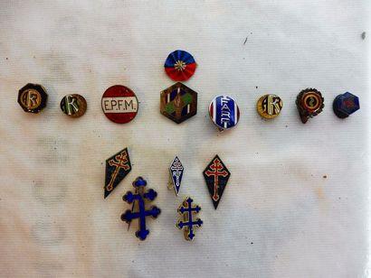 LOT COMPRENANT: 8 insignes émaillées E.P.F.M....