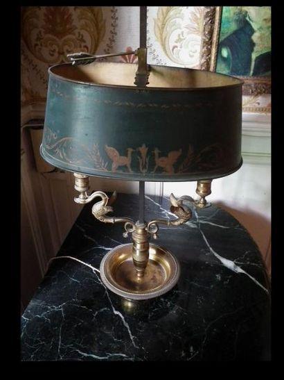 Lampe de bouillotte en bronze et tôle à deux...