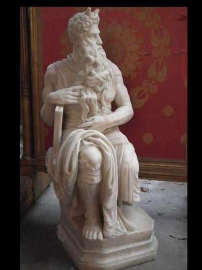 Grande sculpture en marbre d'après Michel-Ange:...