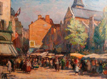 Jules SOUILLET (XXe siècle) Le bas de la rue Mouffetard avec l'église Saint Médard...