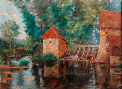 Robert CHAILLOUX (1913-2006) Le Lavoir Huile sur toile, signée en bas à droite. 46...