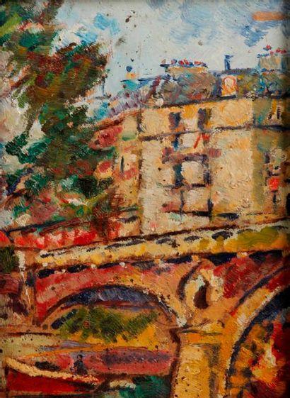 Armand FOUQUET (né en 1904) attribué à Le pont Marie à Paris Huile sur isorel, signée...