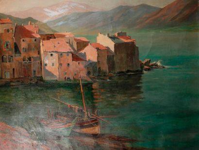 Gabriel BEUNKE (XIXe siècle) Village corse au bord de mer Huile sur toile, signée...