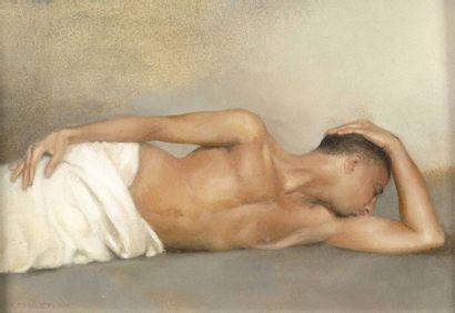 Romain ERKILETLIAN (né en 1972) Calme blanc, homme allongé Petite huile sur panneau,...