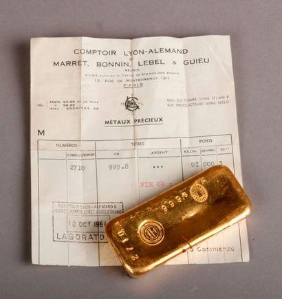 LINGOT or de 999,80g, Comptoir Lyon-Alemand, Marret, Bonnin, Lebel et Guieu réunis,...