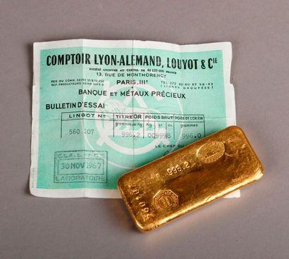 LINGOT or de 996,20g, Comptoir Lyon-Alemand, Loyot et Cie, n° 560 107, S. Michel...
