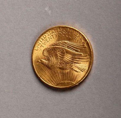 PIÈCE de 20 dollars or US 1908; Pds: 33,3 g