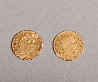 DEUX PIÈCES de 10 Francs or Napoléon III...