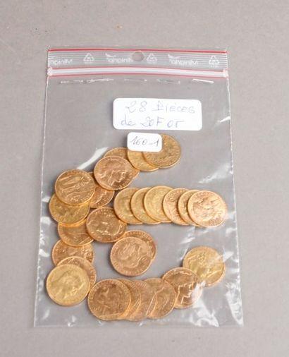 VINGT HUIT PIÈCES de 20 Francs or, France...