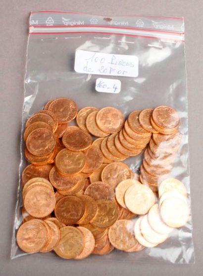 CENT PIÈCES de 20 Francs or, France XIX et...