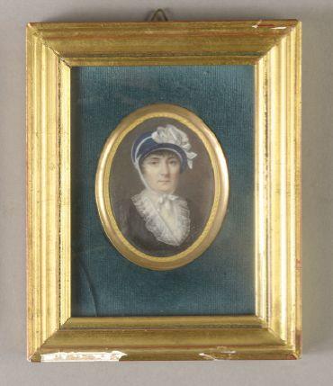 Jean-Baptiste SINGRY (1782-1824) Portrait d'une dame à la coiffe bleue ornée d'un...