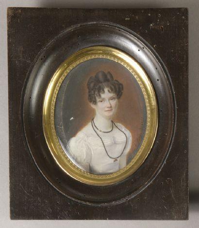 A BERNARD (Première moitié du XIXe siècle) Portrait d' une femme en robe blanche...