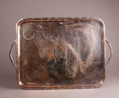 Grand PLATEAU à anses en métal argenté à...
