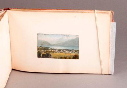 ALBUM de voyage de format oblong annoté «Mes vacances de 1868, Strasbourg» avec...