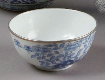 PAIRE DE BOLS en porcelaine bleu et blanc...