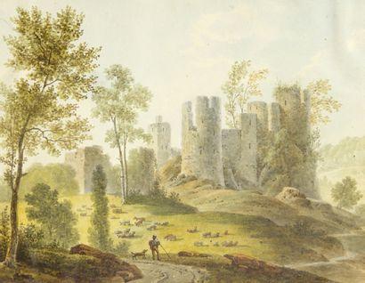 ALBUM AMICORUM de format oblong contenant des pièces datées entre 1836 et 1858:...