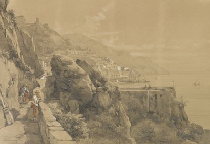 ALBUM romantique de format oblong contenant environ 40 pièces: sept aquarelles dont...