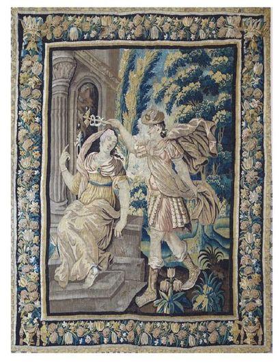 Importante TAPISSERIE en laine et soie représentant Asclépios, dieu de la médecine,...