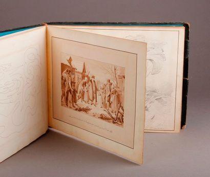 ALBUMAMICORUM de format oblong comprenant dix-sept dessins à la mine de plomb, six...