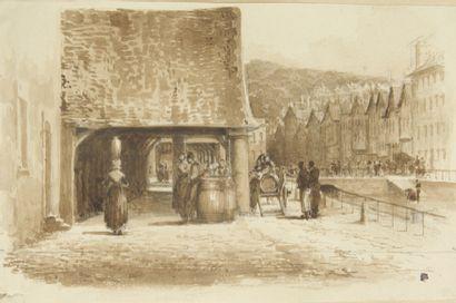 ALBUM DE DESSINS de format oblong intitulé «Voyage en Bretagne en 1844, Morlaix»,...