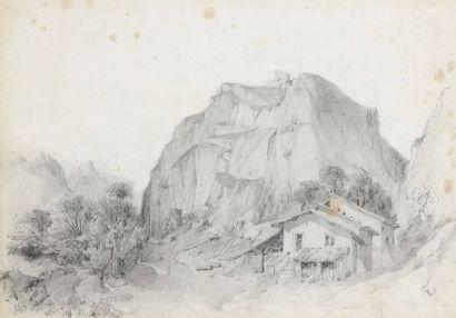 G. GUILLON (XIXe siècle) Ruines de château et ferme dans les montagnes Deux dessins...