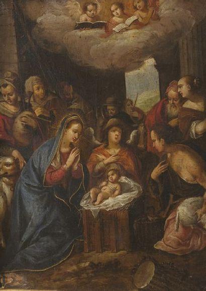École Française du XVIIe siècle La Nativité Huile sur cuivre (petits manques à droite)....