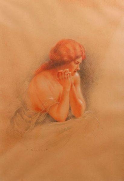 Eugène CHAFFANEL (Né en 1860) Portraits de femmes Deux dessins aux trois couleurs,...