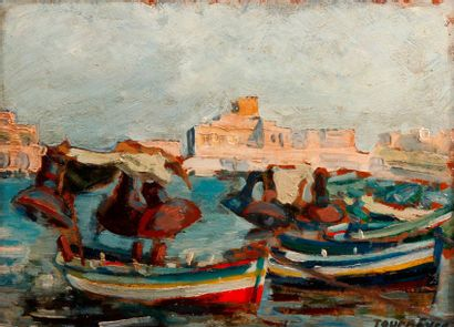 TOURNEURE Port de Pêche Huile sur panneau,...