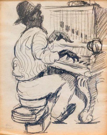 Paul COLIN (1892-1985) Série sur le Jazz,  Le pianiste  Fusain sur papier signé...