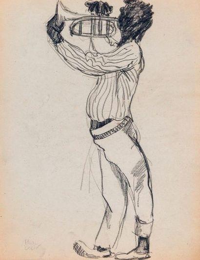 Paul COLIN (1892-1985) Série sur le Jazz,  Le trompettiste  Fusain sur papier signé...