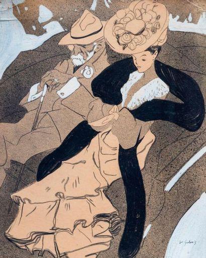 Dimitrios Emmanuel GALANIS (1882-1966) Ballade en carriole  Technique mixte sur...