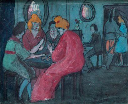 GEORGES ALFRED BOTTINI (1874-1907) Partie de carte au bordel  Gouache sur papier...