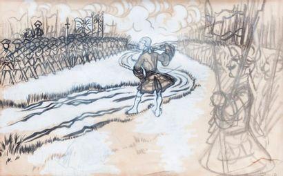 CARAN D'ACHE (1858-1909) Avant la bataille  Fusain et gouache sur papier, signée...