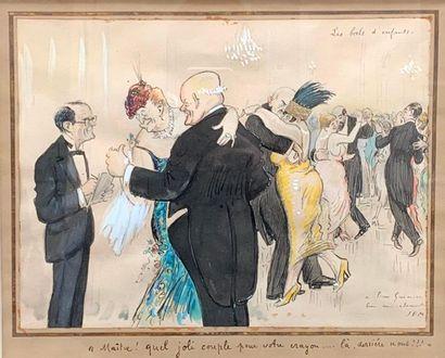 SEM (1863-1934) Les bals d'enfants  Technique mixte sur papier signée en bas à droite,...