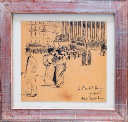 Louis ABEL-TRUCHET (1857-1918) Place de la Bourse  Encre sur papier signée et titrée...