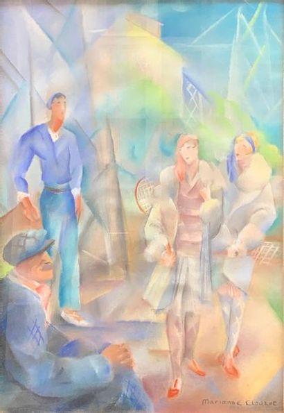 Marianne CLOUZOT (1908-2007) Les joueuses de Tennis  Pastel signé en bas à droite...
