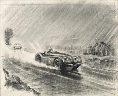 Roy NOCKOLDS (1911-1979) Jaguar JWK 988  Fusain sur papier  Signé en bas à gauche...