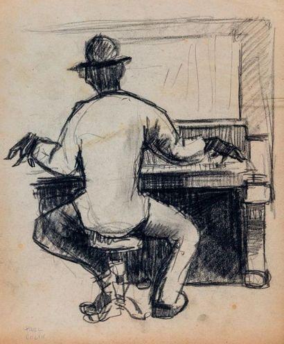 Paul COLIN (1892-1985) Série sur le Jazz,  Pianiste de dos  Fusain sur papier signé...