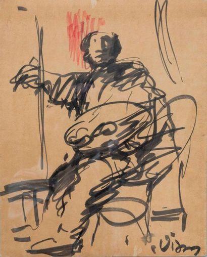 Sylvain VIGNY (1903-1970) Autoportrait du peintre  Aquarelle sur papier, signée...